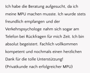 MPU-Beratung, MPU-Vorbereitung, Verkehrspsychologe, Unterstützung, Service, Freundlichkeit